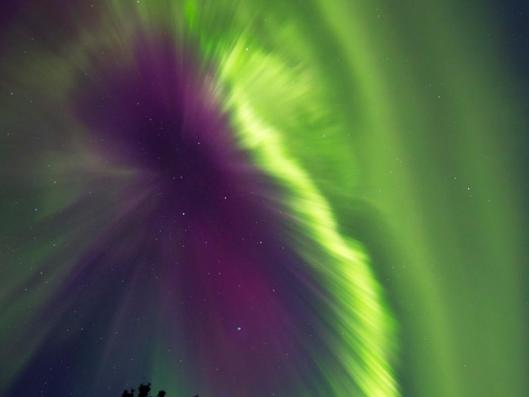 An aurora in Whitehorse Yukon Canada that appeared in the sky in the early hours of Oct. 1, 2012 due to the effects of a coronal mass ejection (CME) that erupted from the sun three days earlier. Image Courtesy of Joseph Bradley