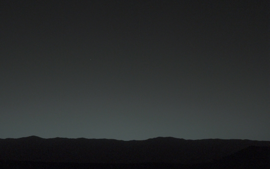 Do you see the bright light a bit left of center? It's faint, but zoom in closer and you'll see a bright object in the sky. That's Earth as seen from Mars in January 2014.    Image Credit: NASA/JPL-Caltech/MSSS/TAMU