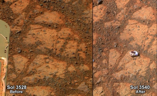 Above is a before-and-after picture of an area of ground on Mars. You can see on the right that an object appears in view. (The pictures were taken 13 days apart by NASA's rover Opportunity.) How did the object, identified as a rock, get there?     NASA/JPL-Caltech/Cornell Univ./Arizona State Univ.